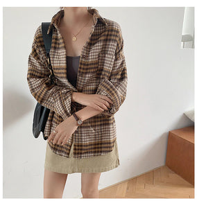 Turn Down Collar Casual Loose Plaid Shirt