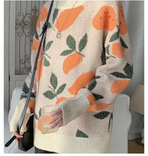 Load image into Gallery viewer, Retro Orange Pattern Turtleneck Knitted Sweater