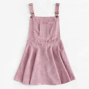 Pink Corduroy Pleated Zip Up Back Dress