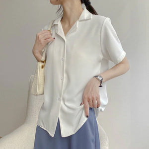 Basic V-Neck Casual Short Sleeve Shirt
