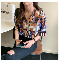 Load image into Gallery viewer, Cat Pattern Blouse Shirt