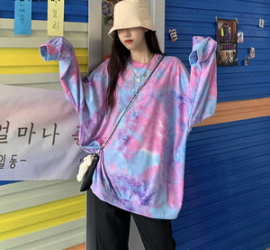 Tie Dye Printed Casual O-Neck Long Sleeve Shirt