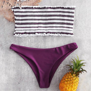 Striped Color Two Pieces Bikini Set