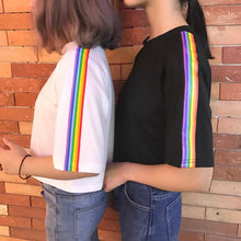 Load image into Gallery viewer, Rainbow Stripe Side Cropped Shirt