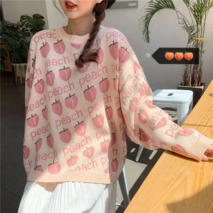 Vintage Peach Printed Loose Sweater