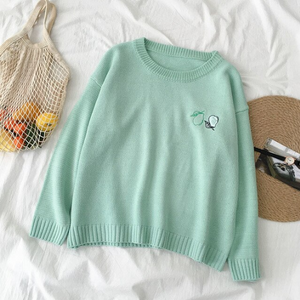 Fruit Embroidery Loose O-Neck Sweater