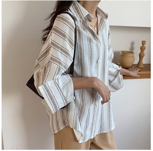 Loose Striped Casual Chiffon Long Sleeve Shirt