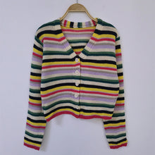 Load image into Gallery viewer, V-Neck Button Up Crop Slim Striped Cardigan