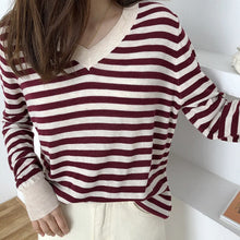 Load image into Gallery viewer, V-Neck Loose Thin Striped Casual Sweater