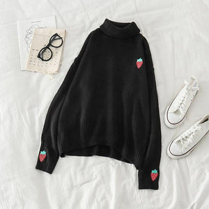 Strawberry Embroidery Turtleneck Knitted Sweater