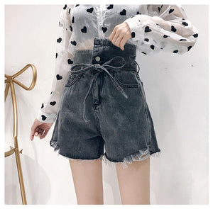 High Waist Belt Tie Sashes Denim Shorts