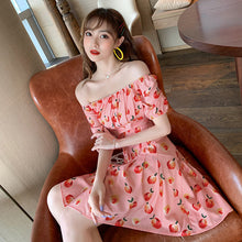 Load image into Gallery viewer, Peach Full Printed Elegant Midi Dress