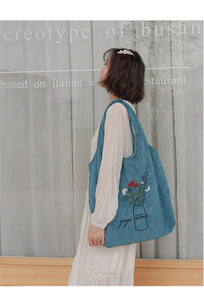 Flowers Embroidery Corduroy Tote Bag