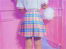 Load image into Gallery viewer, Cute Sweet Plaid Color Pleated Skirt