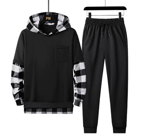Men's Tracksuit Set Plaid Patchwork Hoodies + Pants