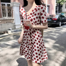 Load image into Gallery viewer, Strawberry Printed V Neck Midi Dress