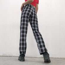 Load image into Gallery viewer, Vintage Black Plaid Casual Pants
