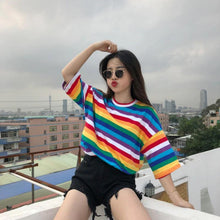 Load image into Gallery viewer, Rainbow Color Striped Loose Shirt
