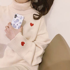 Heart Emoji Embroidery Turtleneck Knitted Sweater