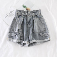 Load image into Gallery viewer, Wide Leg Shorts With Belt Hotpants Jeans
