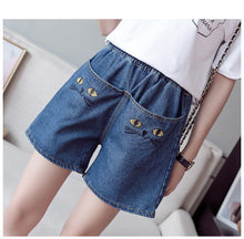 Load image into Gallery viewer, Cat Face Elastic Waist Denim Shorts Jeans