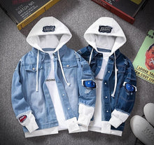 Load image into Gallery viewer, Men's Bomber Hooded Denim Jacket