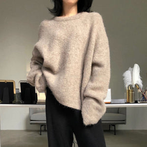 Solid Cashmere Knitted Loose Sweater