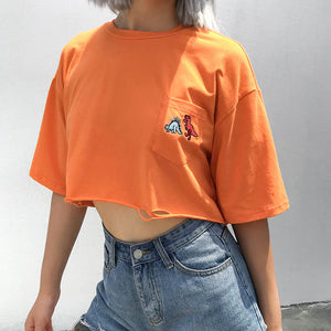 Dinosaur Embroidery Pocket Cropped Shirt