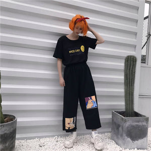 Anime Smoking Printed Loose Pants
