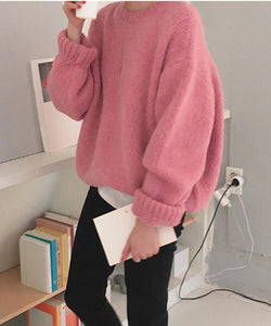 Loose Thick Pink Knitted Sweater