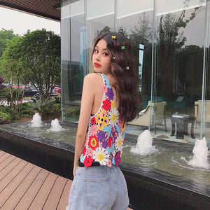 Cute Colorful Floral Camisole Tops