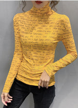 Load image into Gallery viewer, Letters Full Printed Turtleneck Slim Stretchy Long Sleeve Shirt