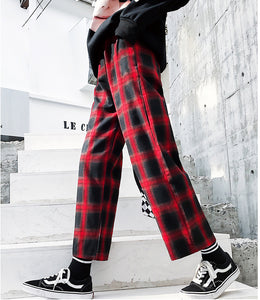 Hip Hop Wide Leg Plaid Loose Pants