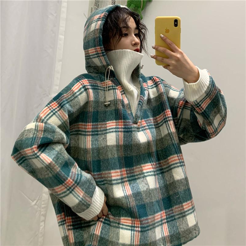 Vintage Plaid Oversized Hooded Style