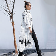 Load image into Gallery viewer, 'Newspaper' Printed Big Size Long Sleeve Blouse Shirt