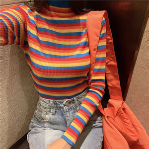 Rainbow Stripes Sexy Slim Turtleneck Sweater