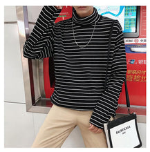 Load image into Gallery viewer, Long Sleeve High Collar Striped Shirt