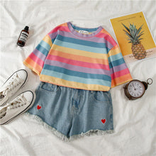 Load image into Gallery viewer, Sweet Pastel Color Striped Loose Shirt
