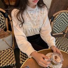 Load image into Gallery viewer, Flower Embroidery Sexy Lace Stand Collar Blouse Shirt