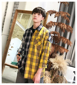 3 Plaid Colors Long Sleeve Casual Shirt