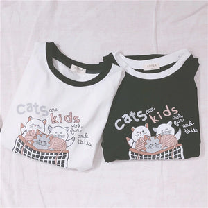 Cat Printed Loose Style Ringer Shirt