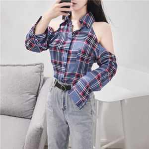 Cute Off Shoulder Long Sleeve Plaid Shirt