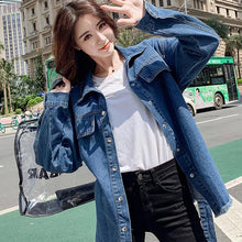 Load image into Gallery viewer, Belted Turn Down Collar Denim Jacket