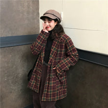 Load image into Gallery viewer, Loose Plaid Woolen Coat Jacket