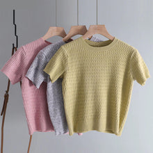 Load image into Gallery viewer, Basic O-Neck Knitted Cropped Shirt