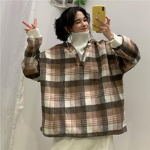 Load image into Gallery viewer, Vintage Plaid Oversized Hooded Style