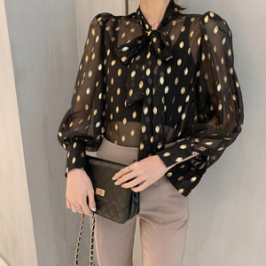Lacing Bow Vintage Polka Dot Shirt