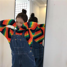 Load image into Gallery viewer, Dark Rainbow Stripe Knitted Sweater