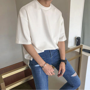 Solid Color Cotton Casual O-Neck Loose Shirt