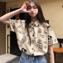 Load image into Gallery viewer, Beach Theme Pattern Short Sleeve Blouse Shirt